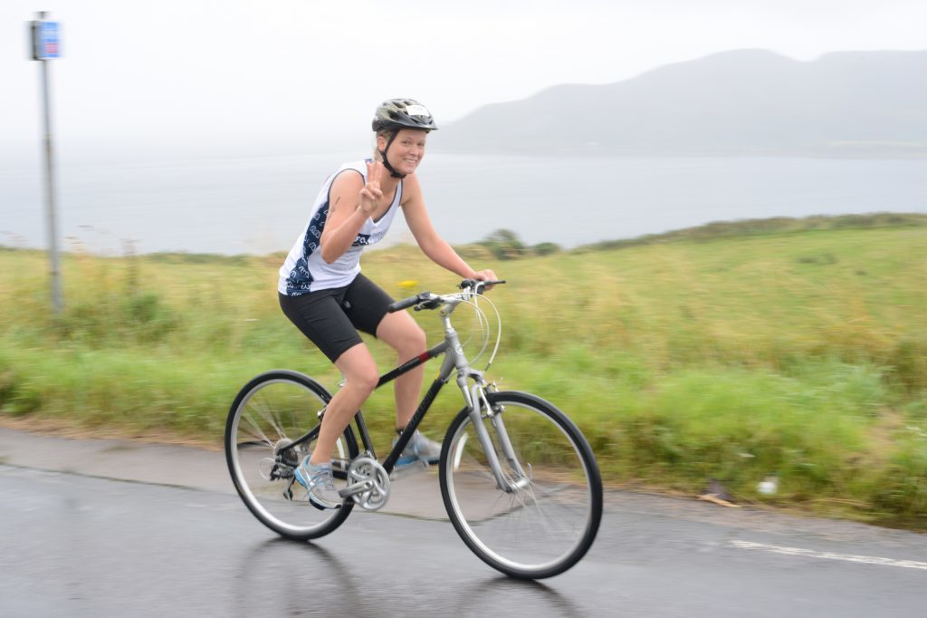 Pippa Kirchmann was quickest female in the pool but looks relaxed passing Davaar island on her bike. 25_c32moktri10_pippa_kirchmann