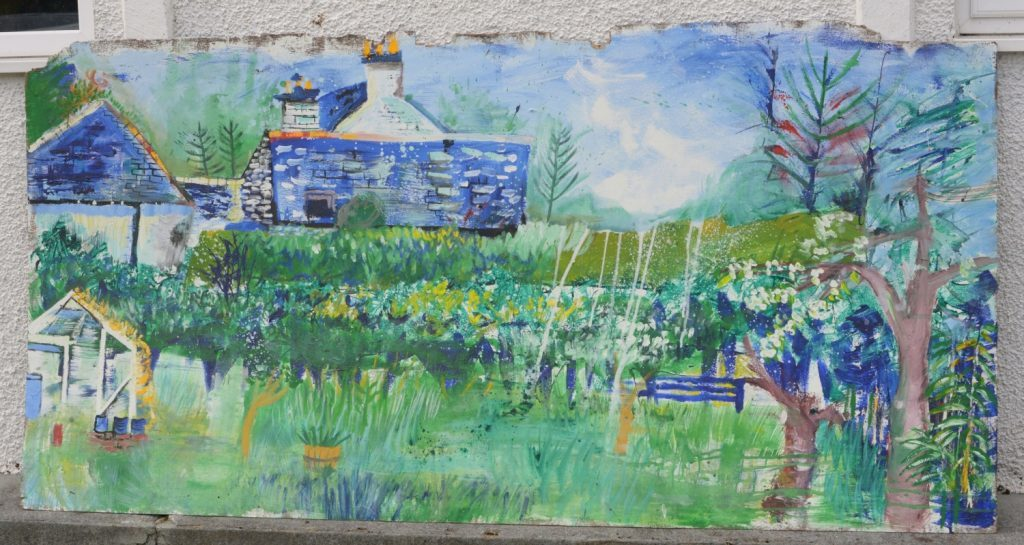 Gaia Silvan's mural, Living Landscape, Balinakill, painted on an old six foot board and displayed outside the hall, was on sale for offers. 25_c33clachanart01