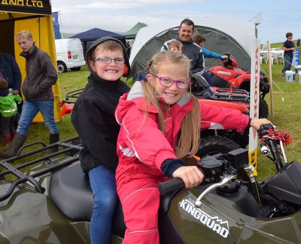 Loghan and Ava, both seven, try out one of ATV Services Scotland's quads.50_c32kintyreshow10_ava quad