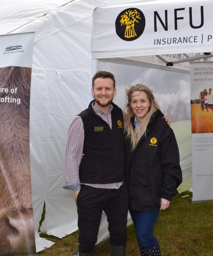 Laura Dodd, right, with Chris Husthwaite, the new agent for NFU Mutual and group secretary for Kintyre NFU Scotland. 50_c32kintyreshow11_nfu