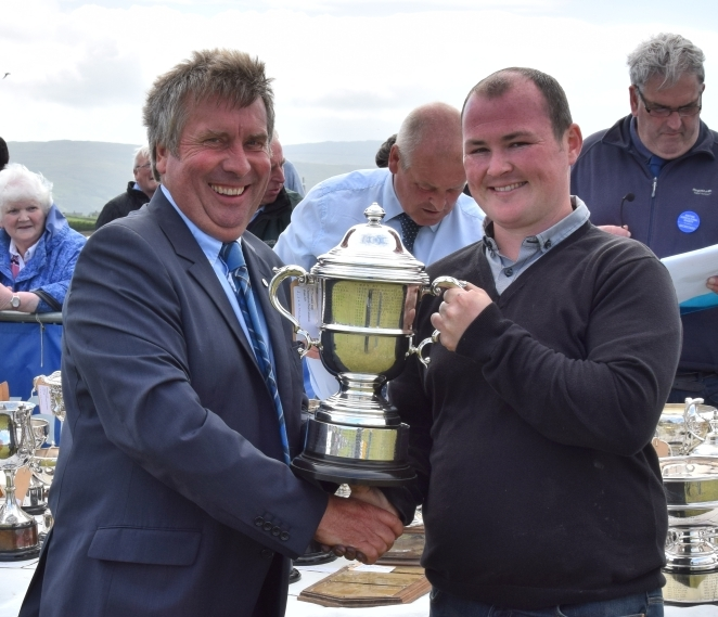 John McCallum was awarded the Corson's Rose Bowl for best cross bred suckled calf, and the Messrs Wallace Cup for champion beef animal. 50_c32kintyreshow60_john mccallum trophy
