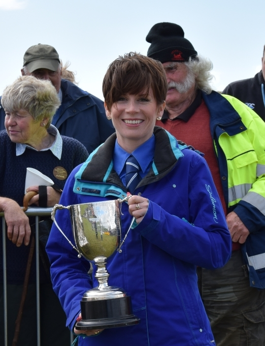 Hazel Barr collected the Kintyre Farmers Cup for Ayrshire heifer, Merchants Cup for most points in Ayrshire, Deosan Cup for best Ayr pair milk, the Thomas Miller Cup for Ayrshire young stock champion, and the Ian McDonald Rose Bowl for dairy interbreed pair. 50_c32kintyreshow68_hazel barr trophy