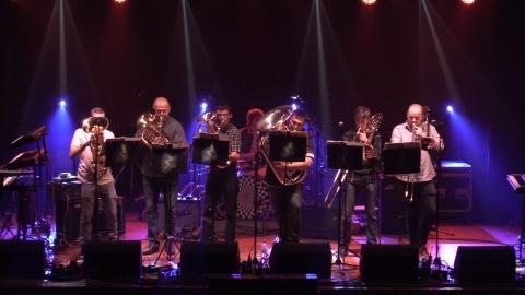 Brass rock ensemble Il Brasso put on a show. Photograph by Raymond Hosie. NO_c35survivors02_Il Brasso