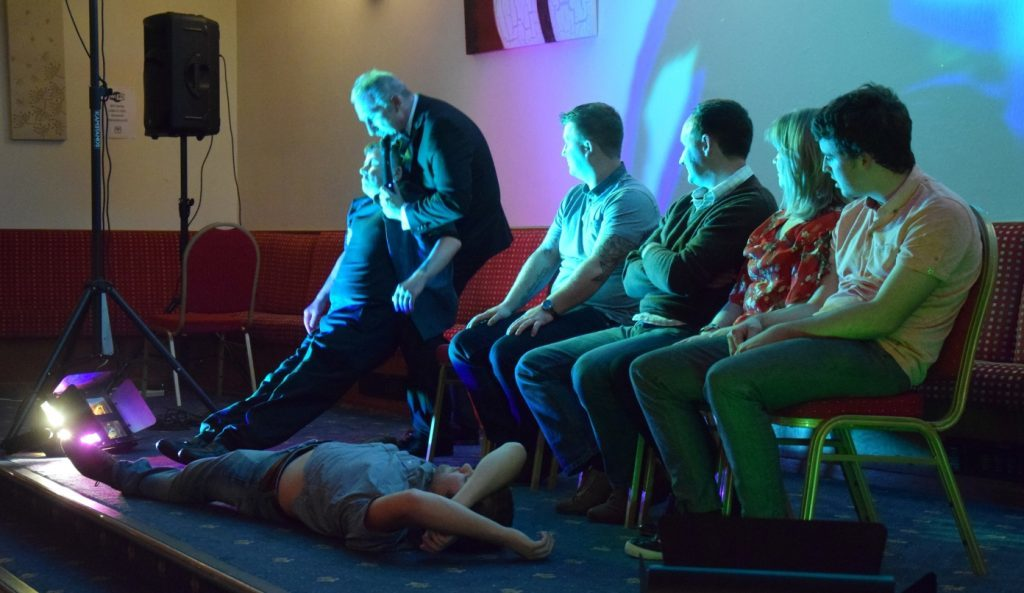 At times, Mr Roberts put the participants on the floor before 'waking' them up. 50_c39hypnotist12