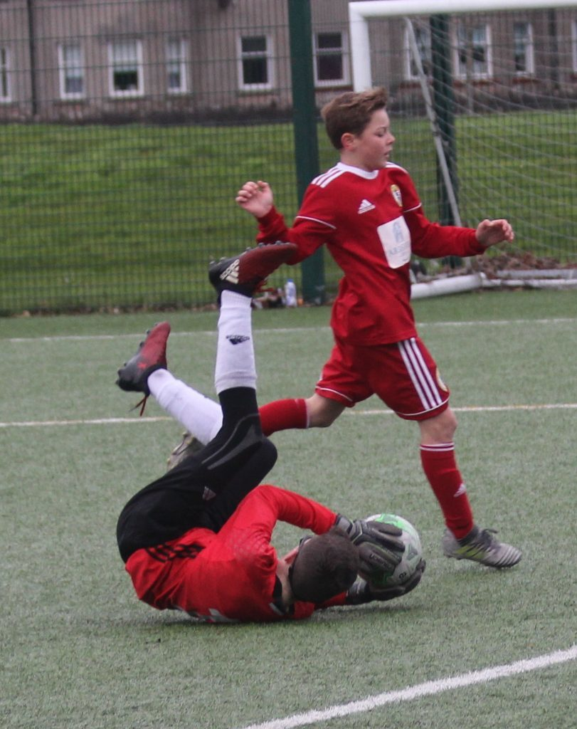 Calum Ellis was unlucky that the Ardencaple keeper stopped his ball. NO_c47pupilsyouth01