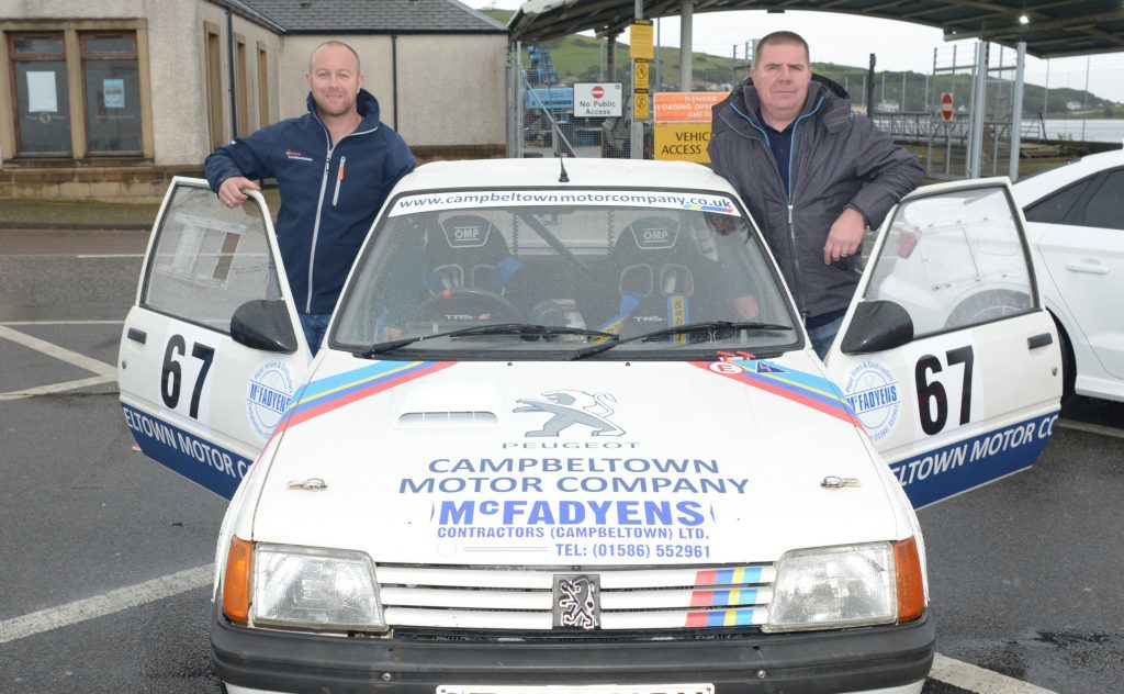 Campbeltown's Neil McAllister and Stephen Lang competed in a Campbeltown Motor Company-sponsored Peugeot 205 1360cc in July. 25_c28mach03_mcallister lang