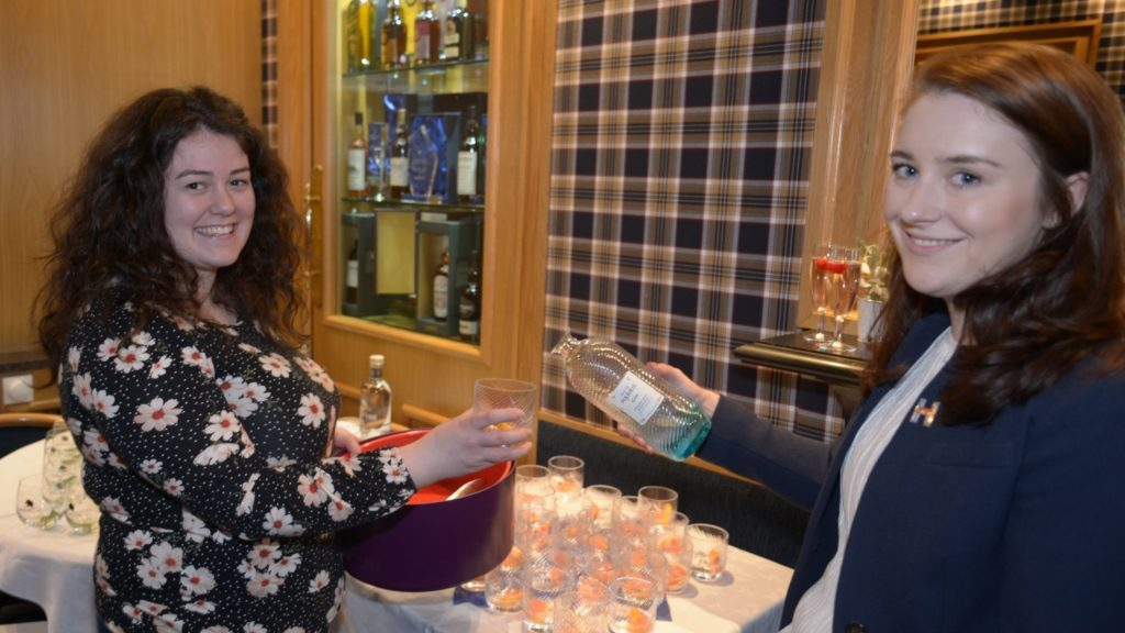 Harris gin's Ruth MacLeod travelled from the outer Hebrides. In the Courier's picture she serves Harris gin with pink grapefruit and Fever Tree gin and tonic with colleague Emma O'Bryen from the firm's Edinburgh office.