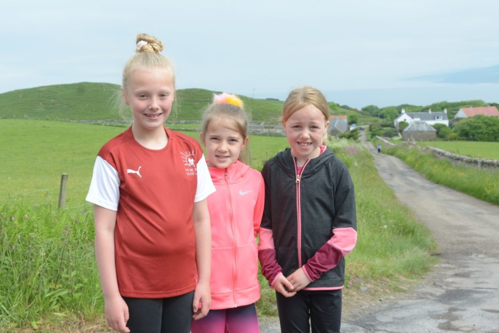 Lileigh Allen, 7, Lucy McNair, 7 and Lynsey MacPhee, 8 at High Lossit.