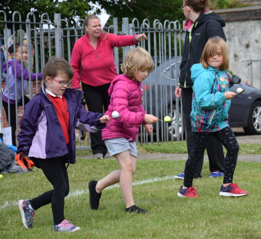 Concentration during the egg and spoon race.