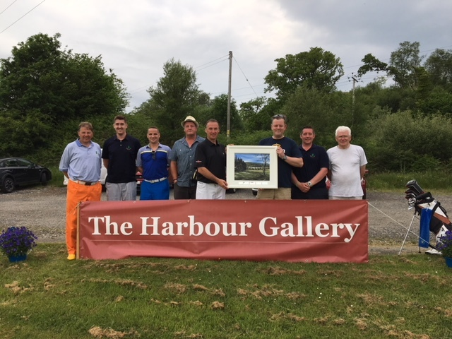 The Harbour Gallery Open prizewinners with Stuart Herd and the prize painting.