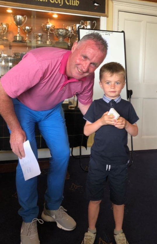 One of the youngest competitors, Craig MacMillan, with captain Calum MacMillan, won the four-hole competition.