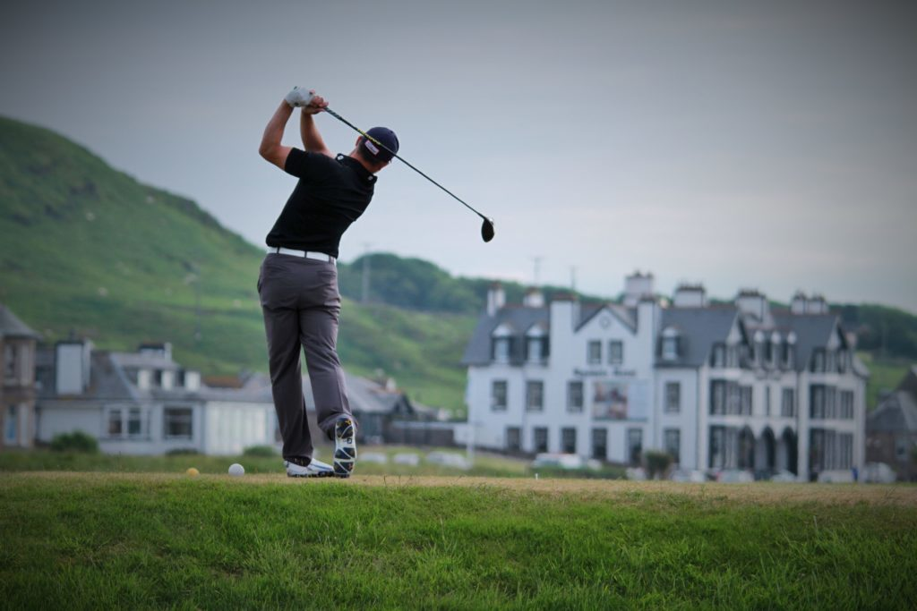 Machrihanish Golf Club's 2018 champion, Greg Watson, in action.