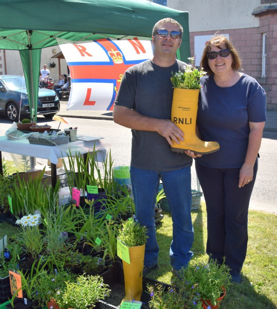 Husband and wife team, Rod and Liz Humphries, who a gardening business, sold plants in aid of the RNLI.