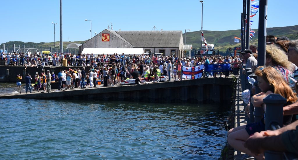 Spectators flooded Hall Street and the new quay.