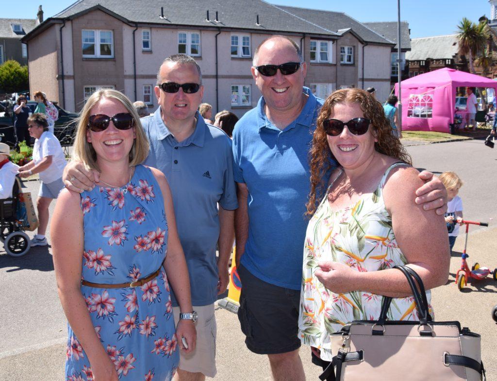 Lorraine Brodie, Gus Brodie, Warren Harvey and Susan Gilchrist enjoyed the sunshine.