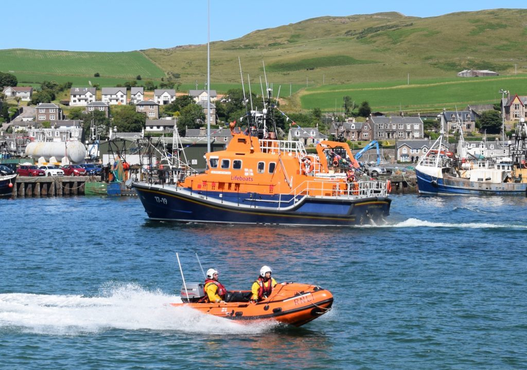 The Ernest and Mary Shaw all-weather lifeboat made a special appearance, while the smaller inshore lifeboats provided support all day.