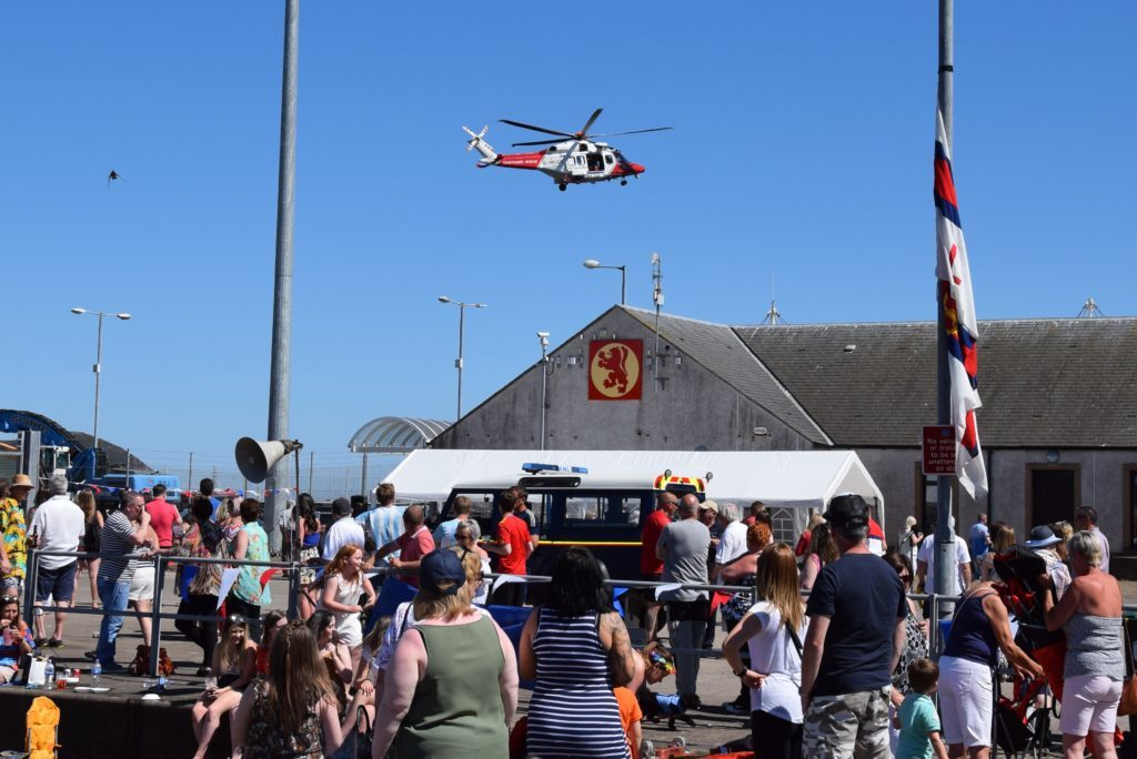 The Coastguard helicopter performed a fly-by but had to rush off to an emergency.