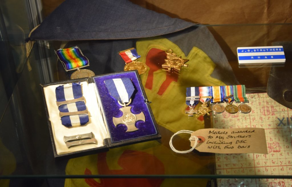 Major Struthers' medals, including the Distinguished Service Cross with two bars.
