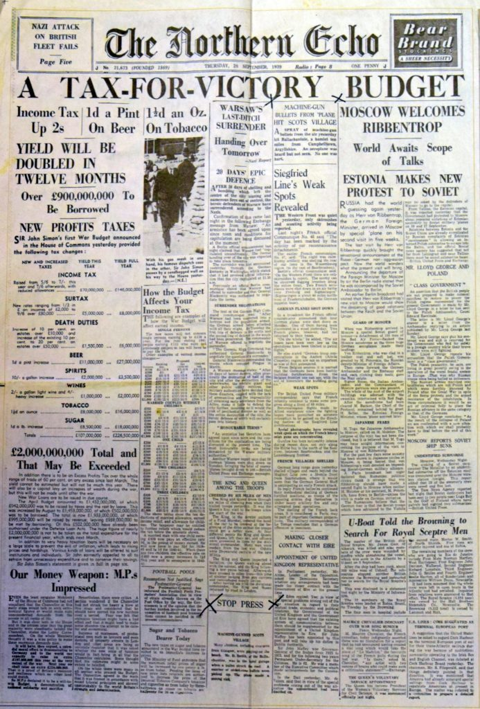 The front page of the Northern Echo on Thursday, September 28, 1939.