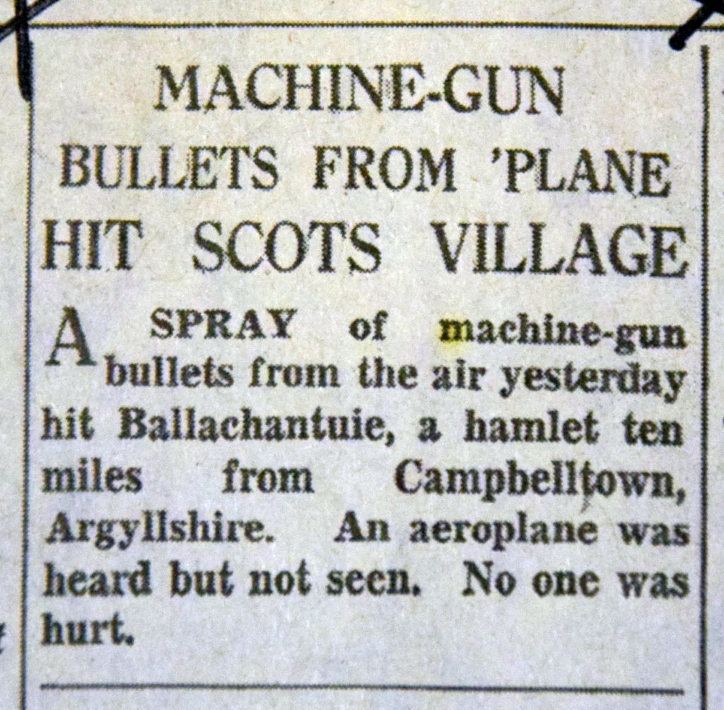 An article reporting the machine-gunfire over Bellochantuy.