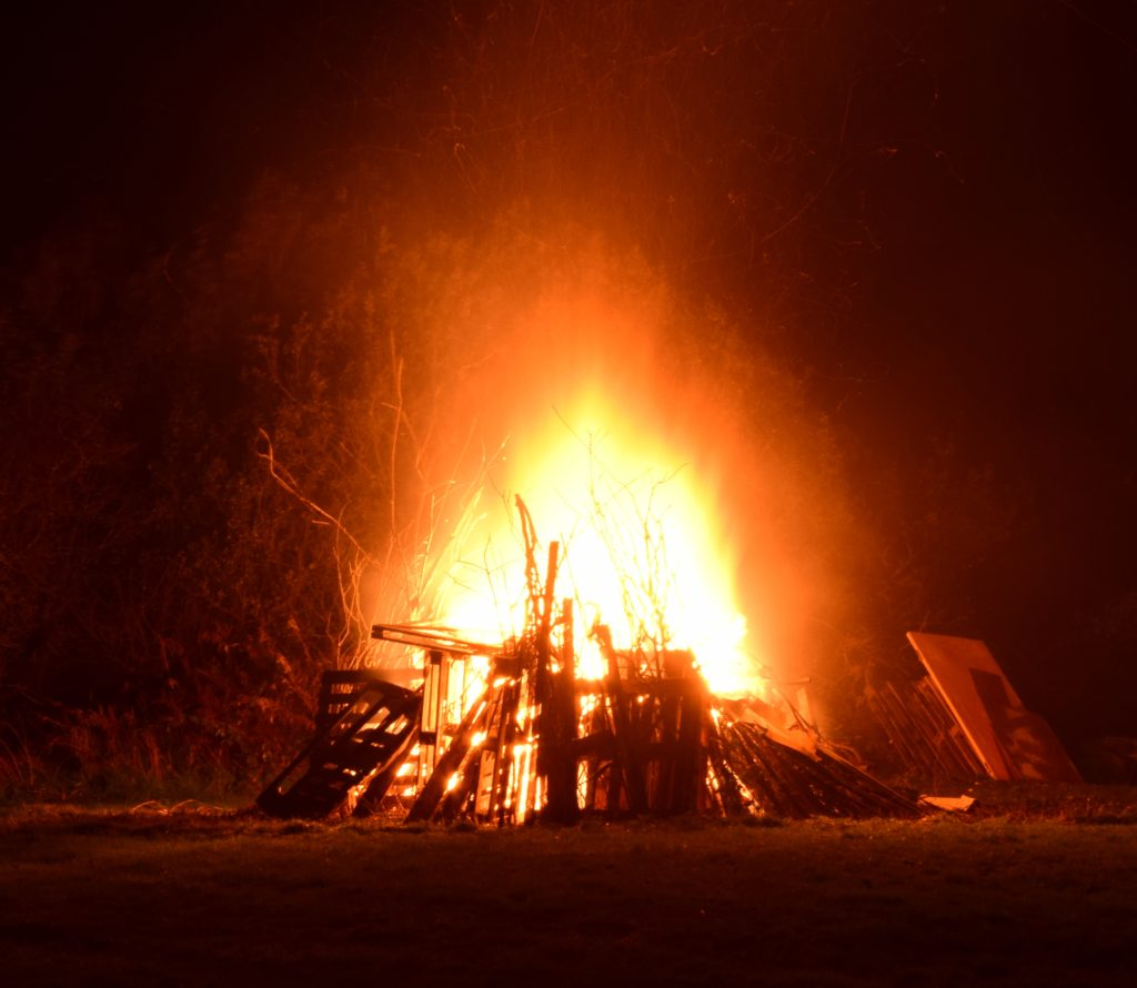 A glowing bonfire provided some warmth.