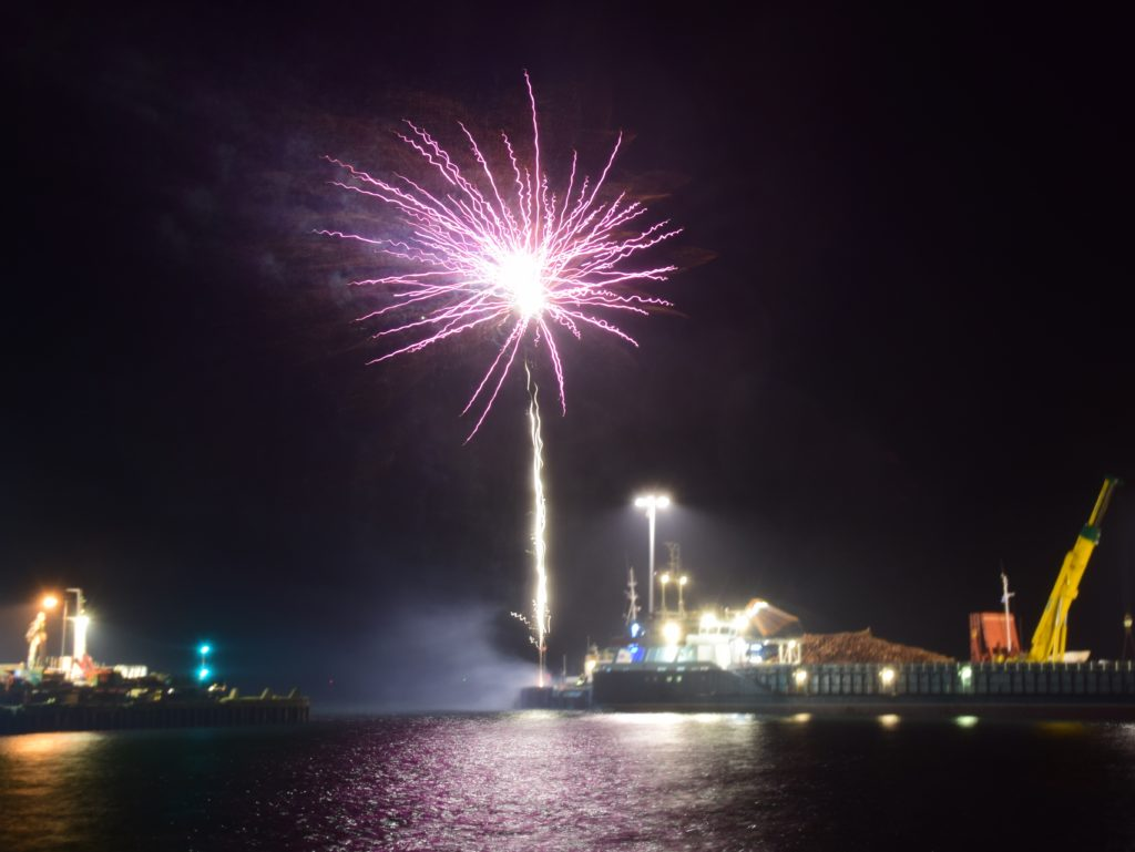 The wind made it trickier to photograph the fireworks.
