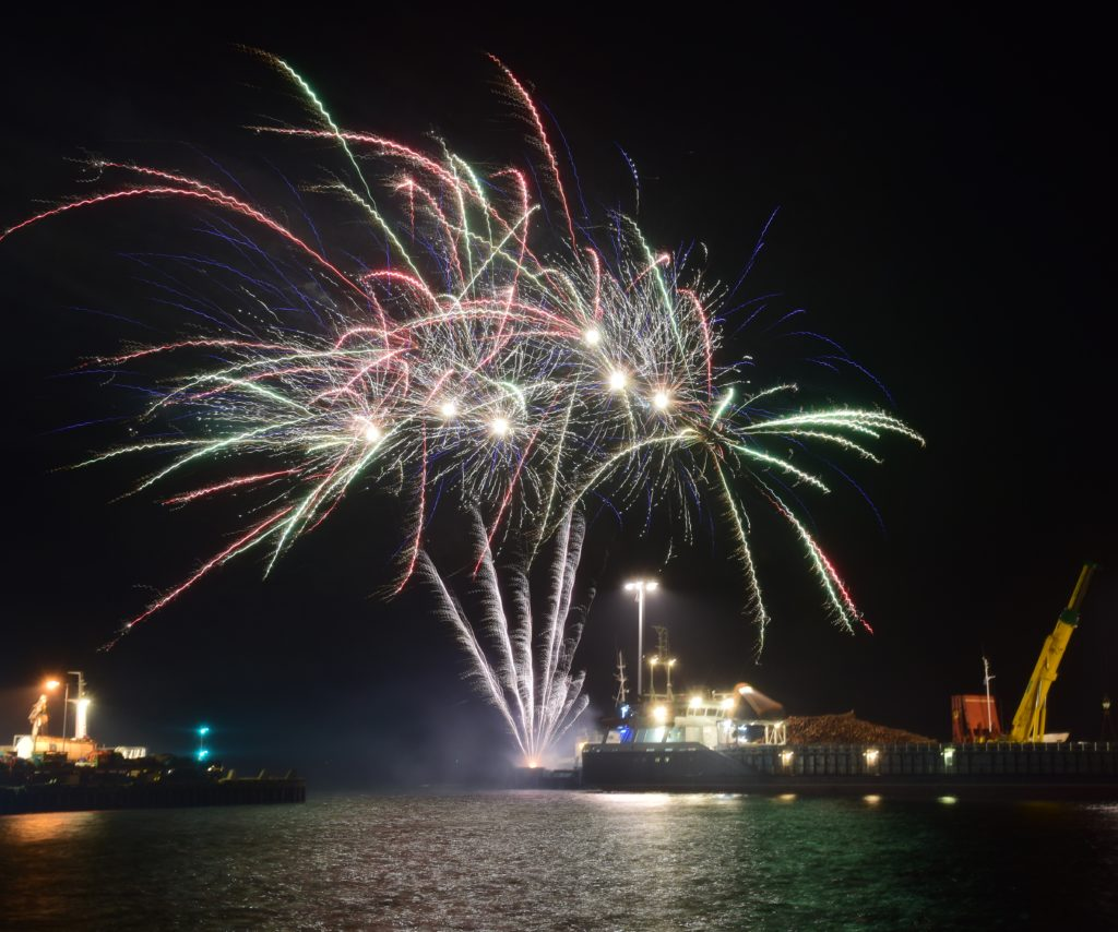 Hundreds of people lined the streets to see the impressive fireworks display.
