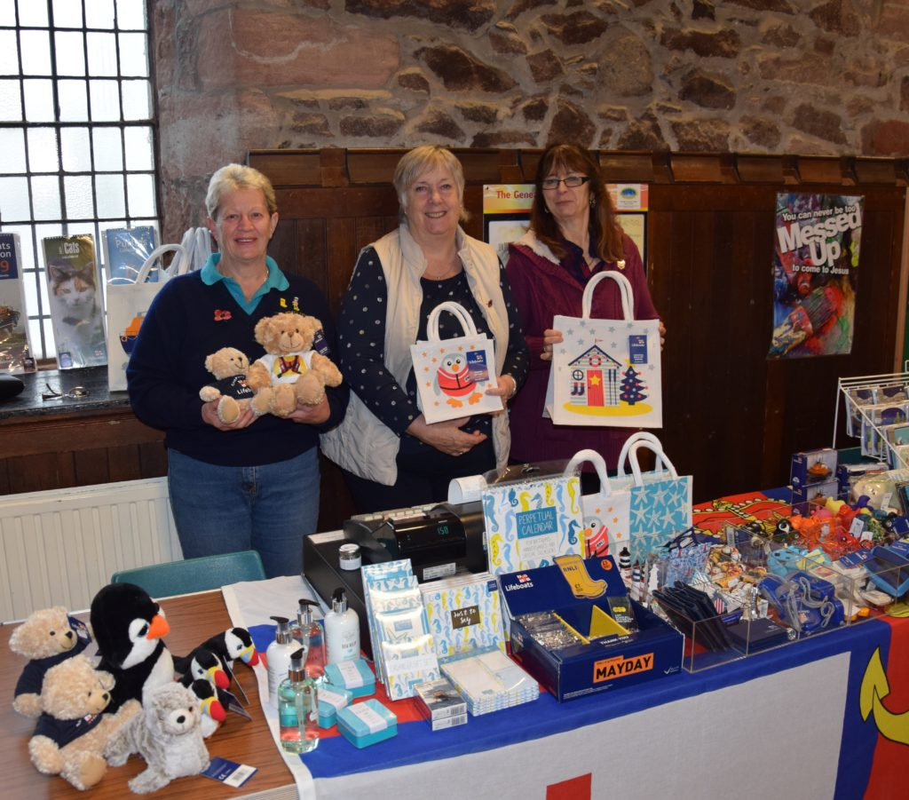 Marjorie Leighton, Sue Morgan and Liz Johnston sold Christmas items at the RNLI's coffee morning.