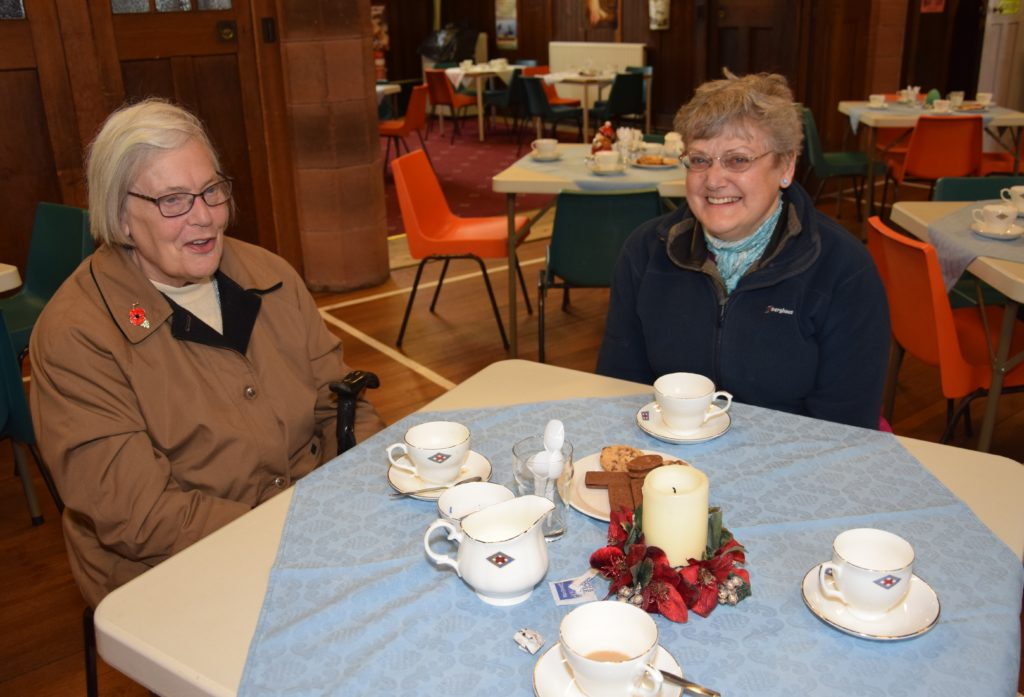Judith Macrae and Marion Fordom enjoyed a blether at the RNLI fundraiser.