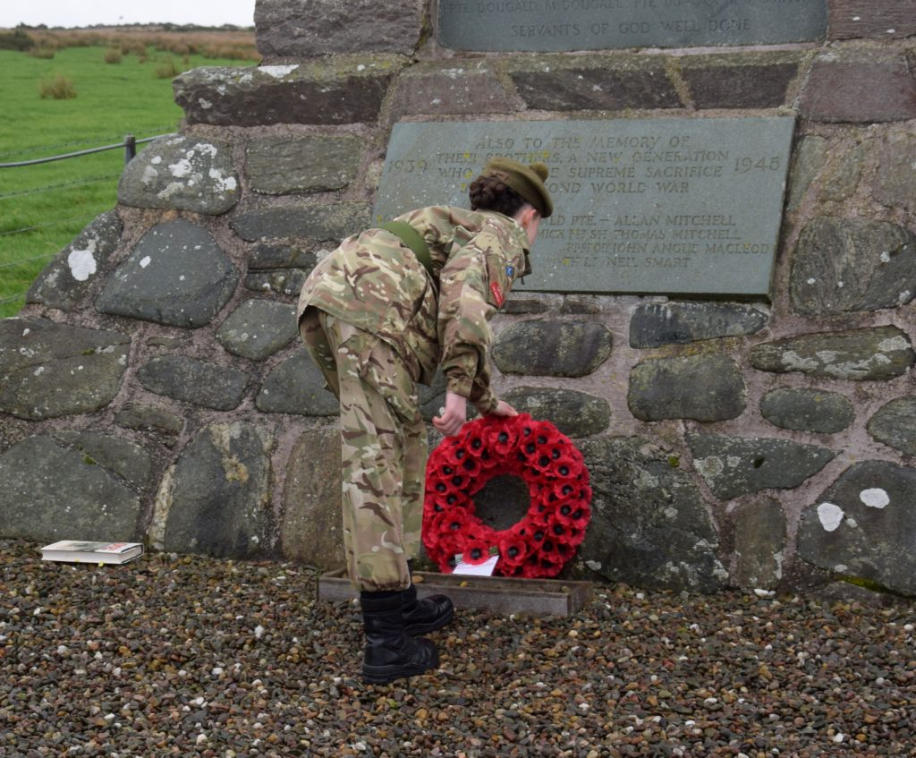 Jennifer McMurchy from Campbeltown's Argyll and Sutherland Army Cadet detachment laid a wreath on behalf the community.