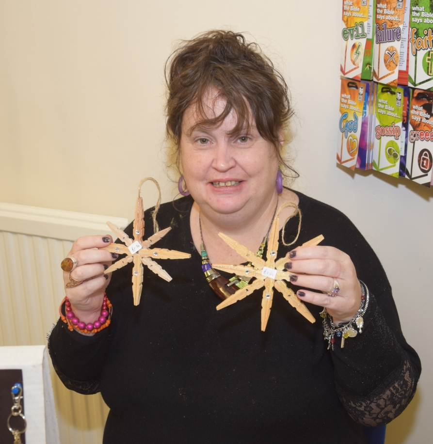 Lorna Hume sold hand-crafted Christmas decorations.
