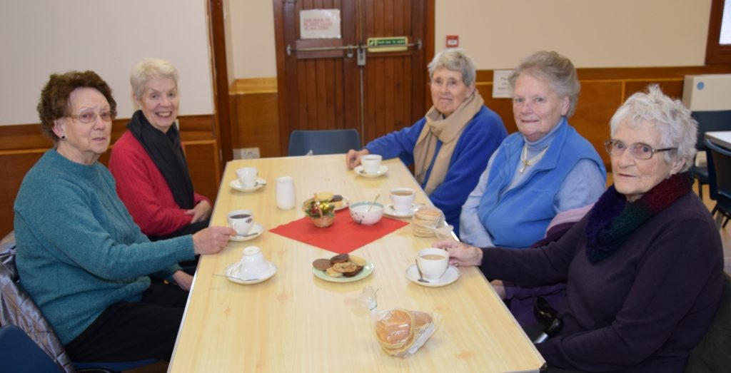 From left, Bertha Newlands, Joyce Gardiner, Catherine Spence, Margaret Mitchell and Douglas McKerral enjoy a catch up.