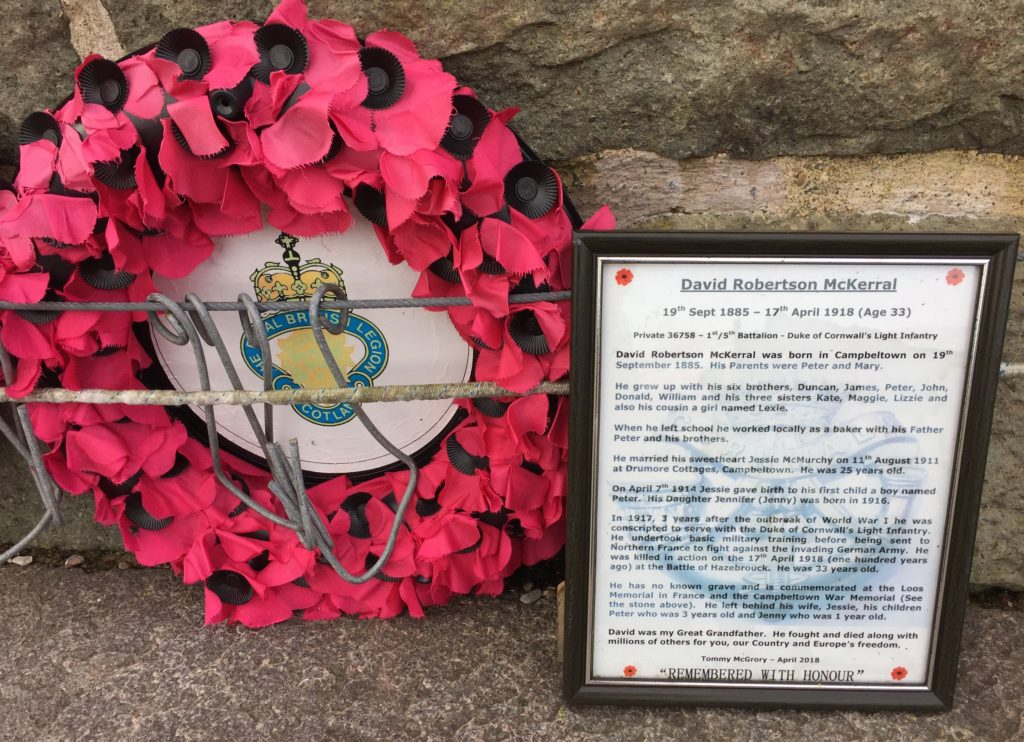 Tommy's tribute to his great-grandfather at Campbeltown War Memorial.
