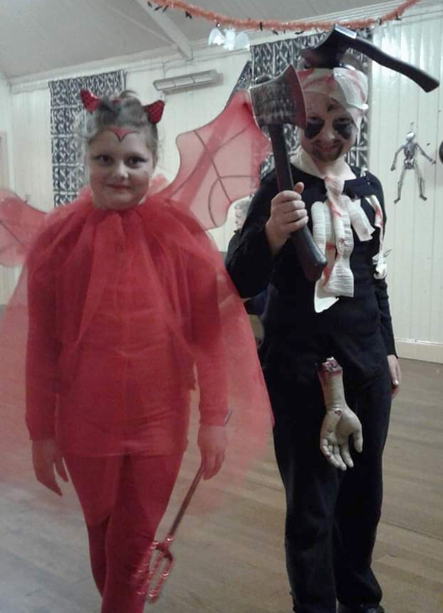 Thomas and Emma Moffitt in their Hallowe'en finery.