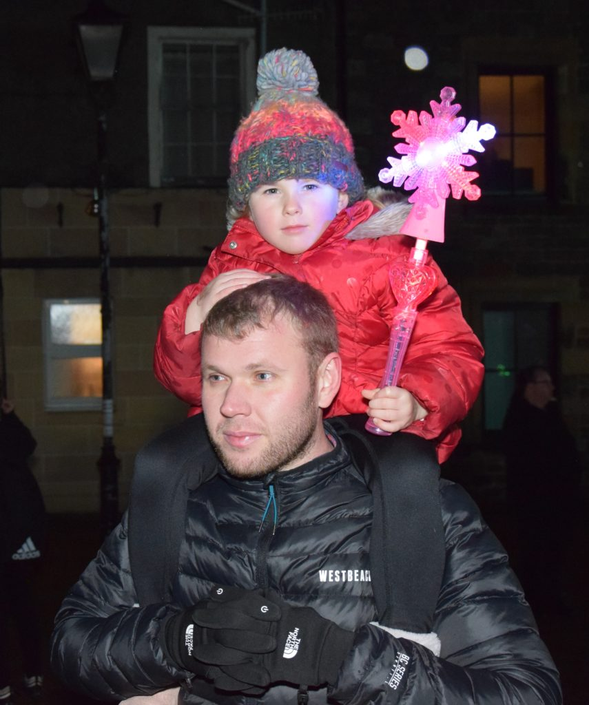 Euan Mclean's shoulders provided the perfect perch for daughter, Hollie, five.