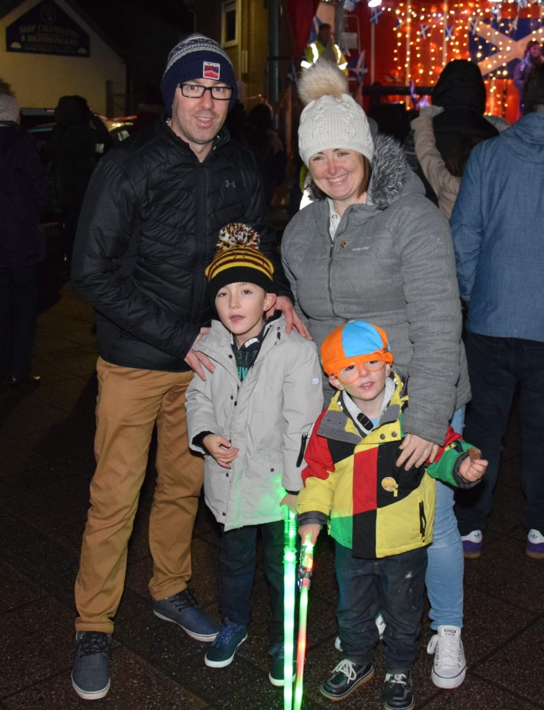 Jamie Graham and Elaine Ross got into the festive spirit with their children, Ollie, six, and Addie, four.