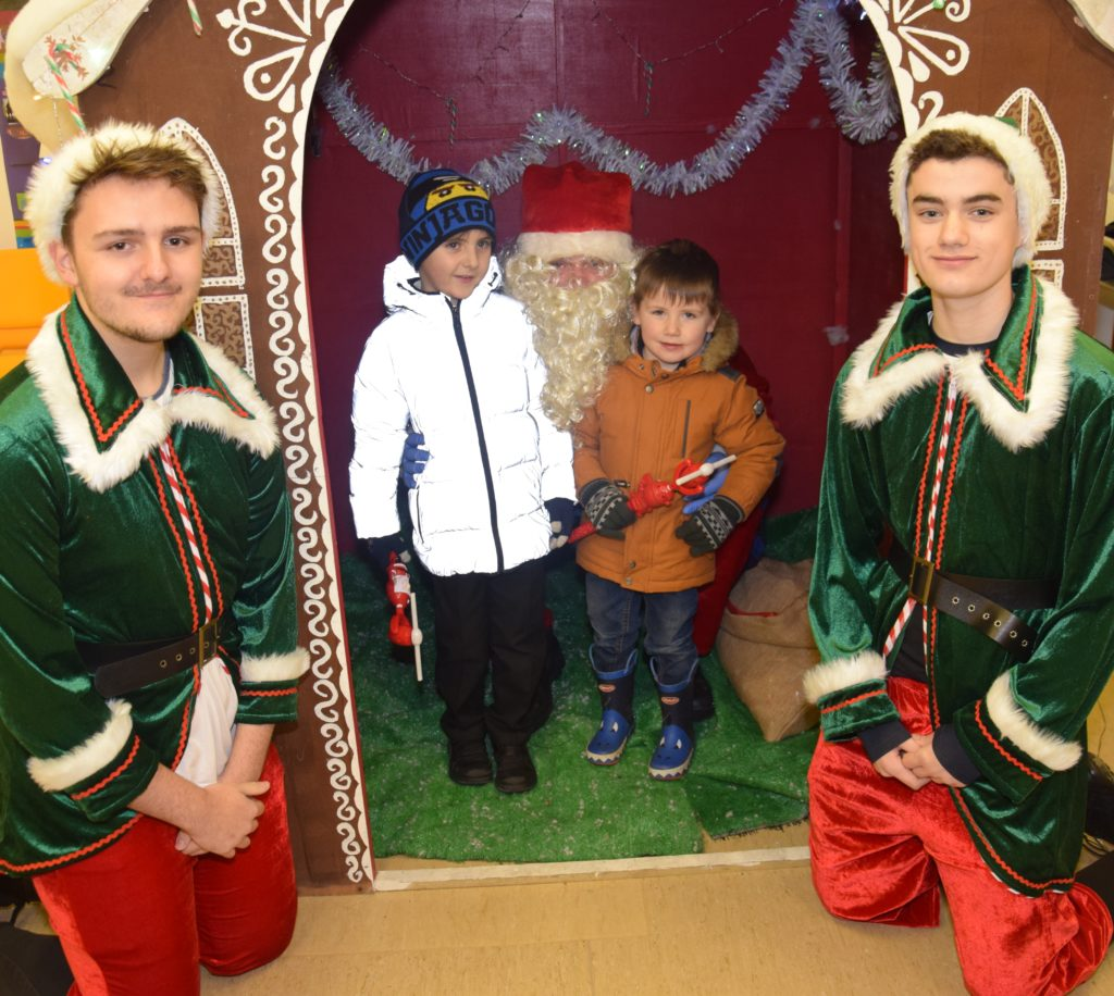 Jay Tavendale, five, and brother Jaxon, three, met Santa and two of his elves in the Salvation Army citadel.