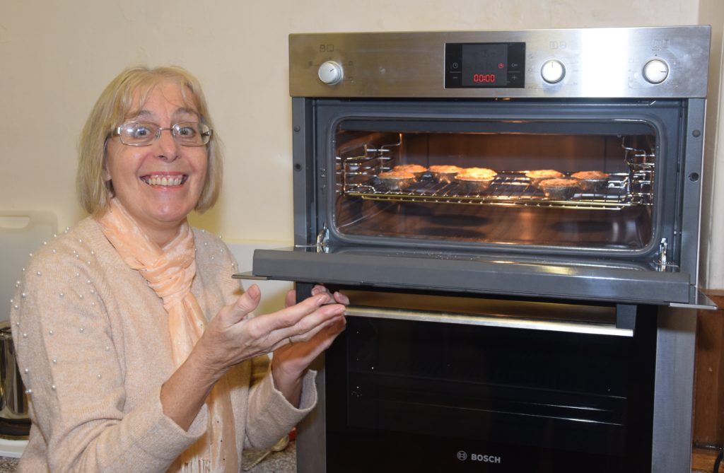 Anne Brown ensured the mince pies were piping hot.