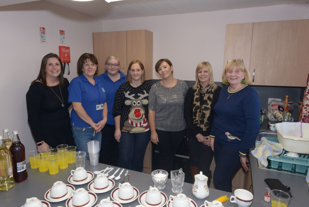 Staff who organised the Christmas party from left: Sarah Livingstone, Alice McCallum, Kirsty Brown, Linn Coffield, Catriona Graham, Morag Kletkiene and Moira Ramsay. 25_c52LCCshow04