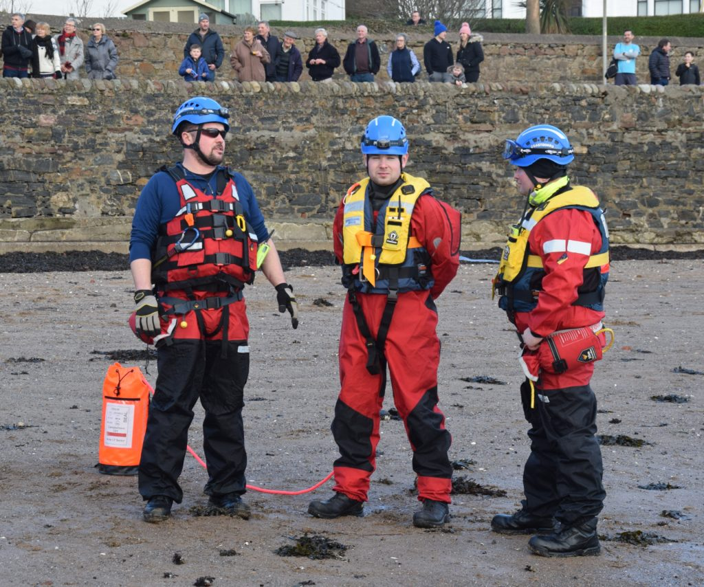 Coastguards Gary Anderson, Stuart McConnachie and Jamie Girvan on stand-by.