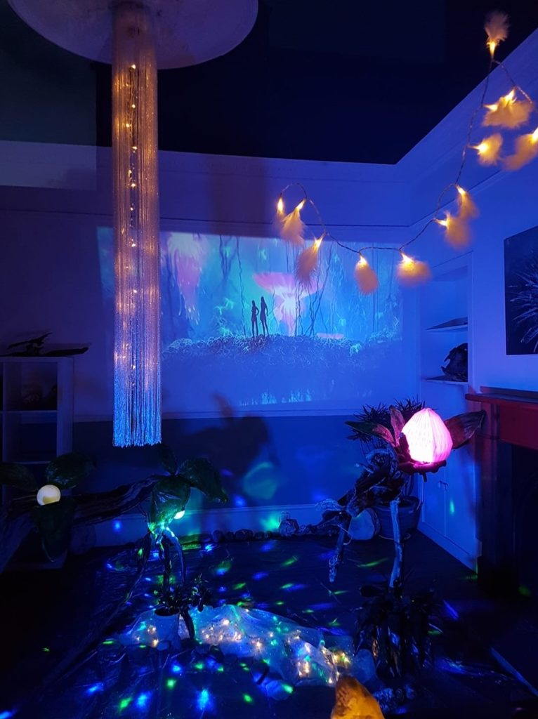 A living room transformed into Pandora from Avatar.