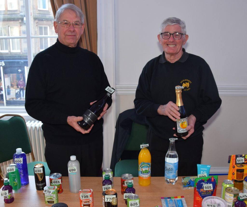 Alan Bakes and Bill Brannigan manned the bottle stalls.