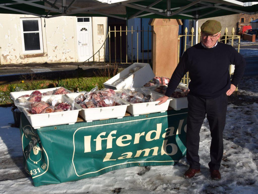 Andrew Gemmill sells Ifferdale lamb.