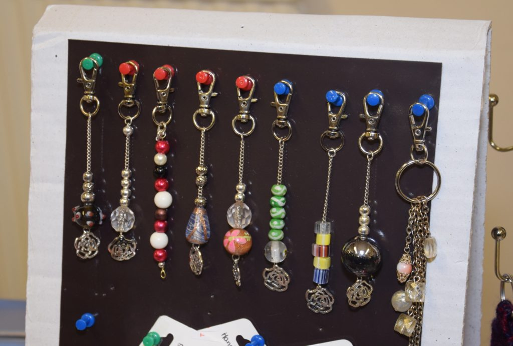Some of the colourful handbag charms created at the Make and Munch craft group.