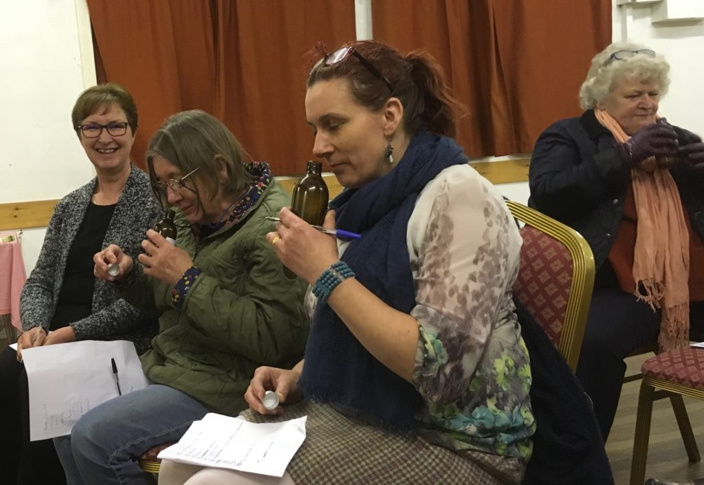 Identifying aromas, from left: Jane McCallum, Pauline Simson, Lori Silvan and Liz Ball.