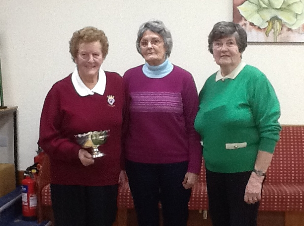 Winners Jane McCorkindale and Marion Warnock, with chairperson Patricia Fair, centre.