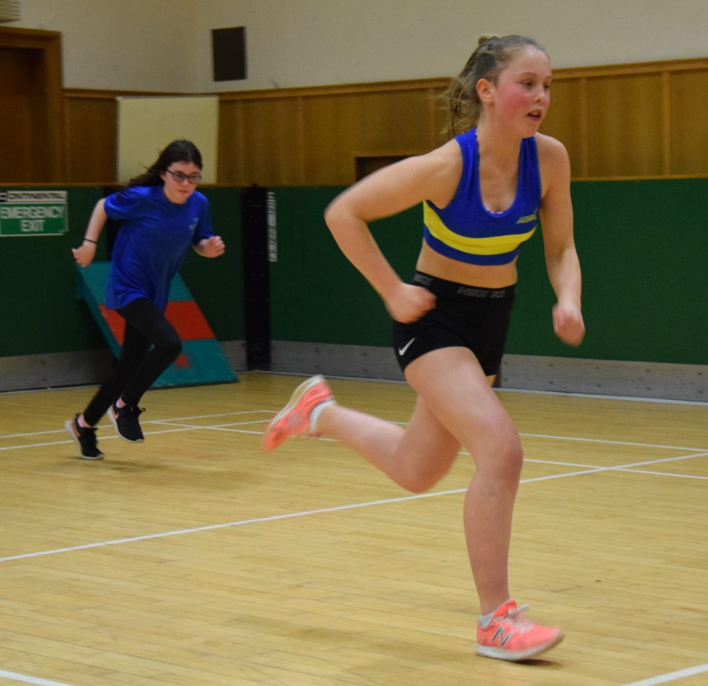 Violet Campbell races against Rianne Coffield in Campbeltown.