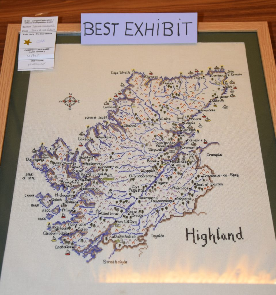 Best exhibit in show was a cross-stitched map of the Scottish Highlands by Margaret Pratt.