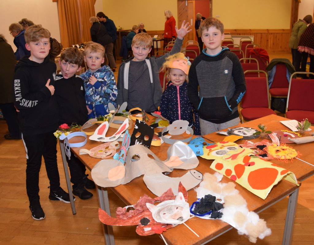 Some of the primary and pre-five children who made masks for the show.