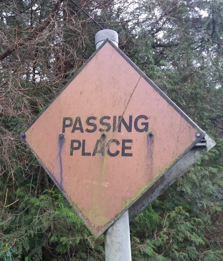 A number of 'passing place' signs on Kintyre's single-track roads have corroded.